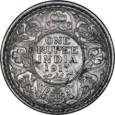 Reverse of 1917 India One Rupee
