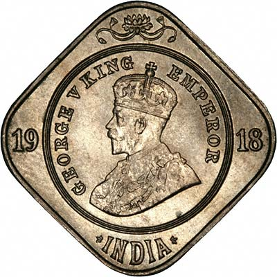 Obverse of 1918 India Two Annas