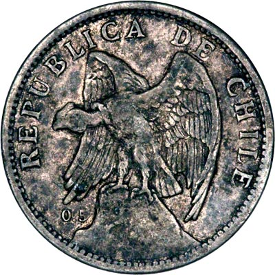Obverse of 1921 Chile One Peso