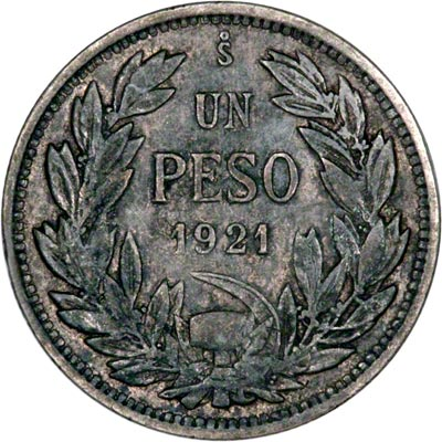 Reverse of 1921 Chile One Peso