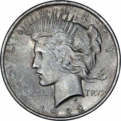 Obverse of 1922 American Peace Type Silver Dollar