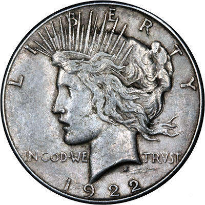 Obverse of 1922  - S American Peace Type Silver Dollar