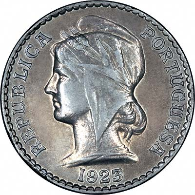 Obverse of 1923 Angola 50 Cents