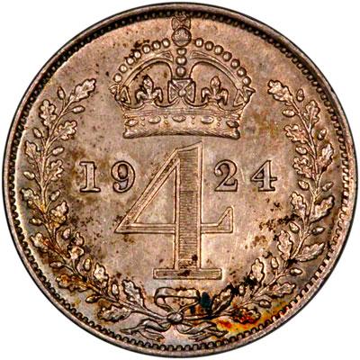 Reverse of 1924 Maundy Fourpence