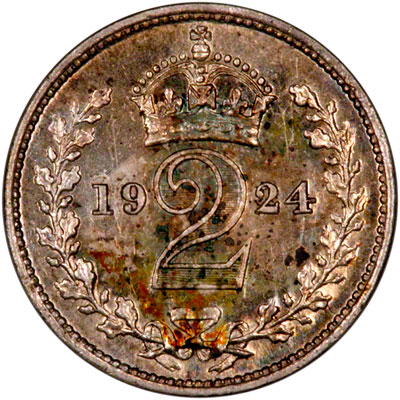 Reverse of 1924 Maundy Twopence