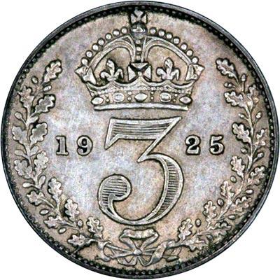 Reverse of 1925 Maundy Threepence