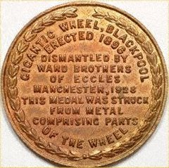 Reverse of Blackpool Big Wheel Medallion