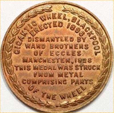 Reverse of Blackpool Big Wheel Medallion