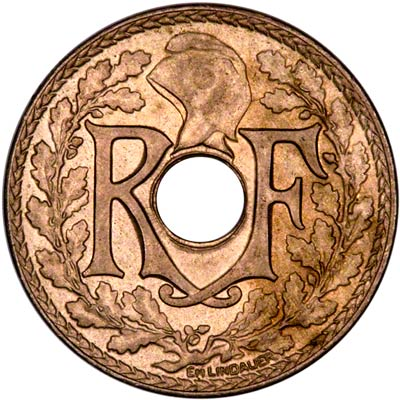 Obverse of 1928 French 25 Centimes