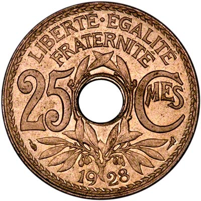Reverse of 1928 French 25 Centimes