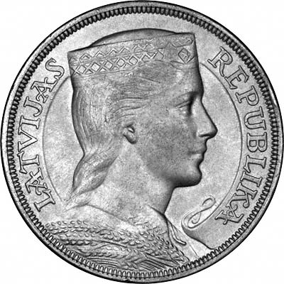 Obverse of 1929 Latvian 5 Lati