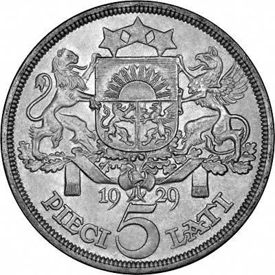 Reverse of 1929 Latvian 5 Lati