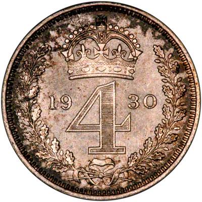 Reverse of 1930 Maundy Fourpence