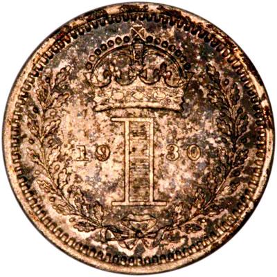 Reverse of 1930 Maundy Penny