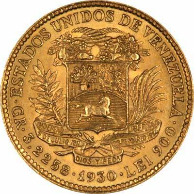 Reverse of 1930 Venezuela Gold 10 Bolivares