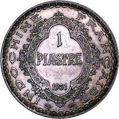 Reverse of 1931 French Indo China Piastre