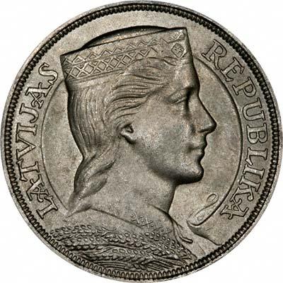 Obverse of 1931 Latvian 5 Lati