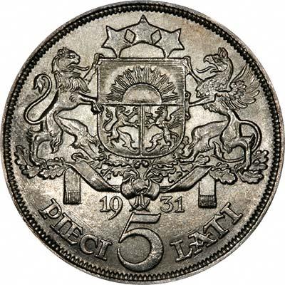 Reverse of 1931 Latvian 5 Lati