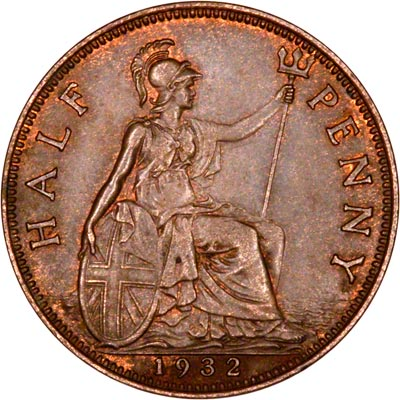 Reverse of 1932 Half Penny