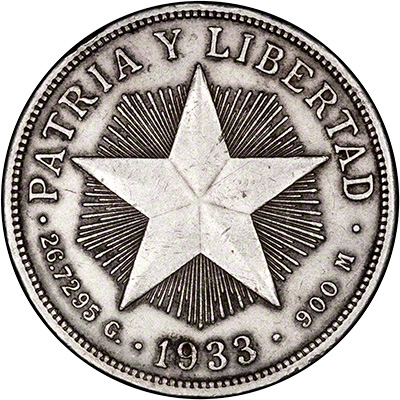 Reverse of 1933 Cuban Peso