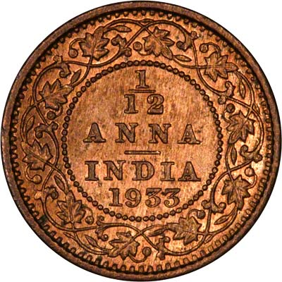 Reverse of 1933 India 1/ 12 Anna