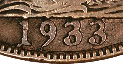 Exergue Area of Pseudo 1933 Penny