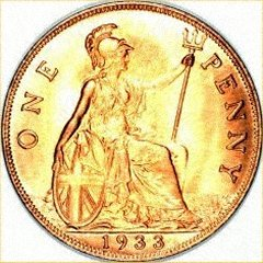 Britannia Appears on the Very Rare 1933 Penny