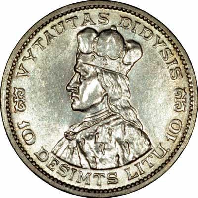 Obverse of 1936 Lithuanian Ten Litu Coin