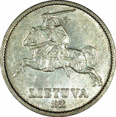 Reverse of 1936 Lithuanian Ten Litu