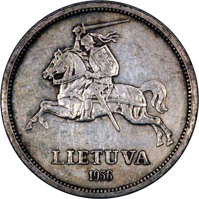 Grand Duke Vytautas on Reverse of 1936 Lithuanian Five Litu Coin
