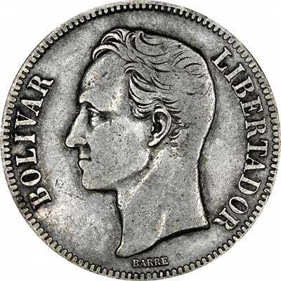 Simon Bolivar on Obverse of 1936 Venezuela Silver 5 Bolivares