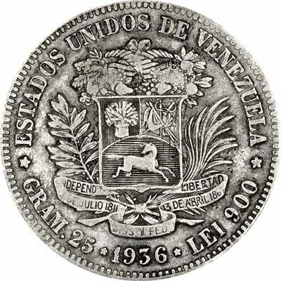 Reverse of 1936 Venezuela Silver 5 Bolivares
