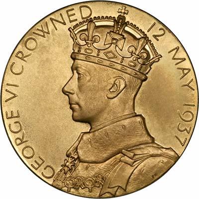 George VI on Obverse of 1937 Gold Coronation Medallion