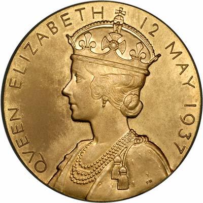 Queen Elizabeth on Reverse of 1937 Gold Coronation Medallion