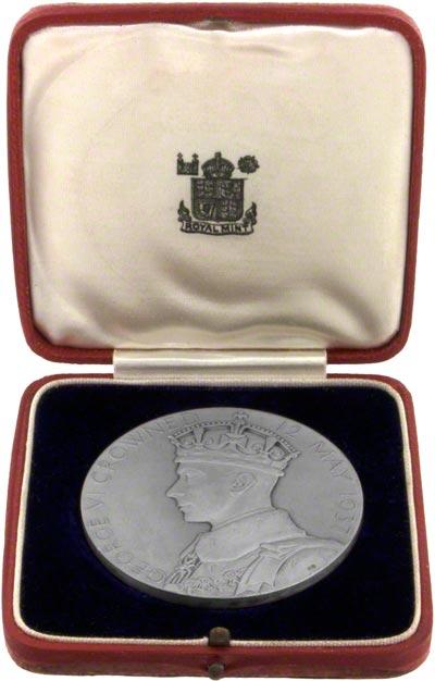 1937 Large Silver Coronation Medallion