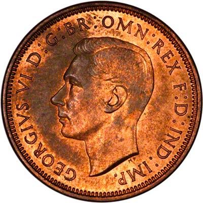 Obverse of 1937 Half Penny
