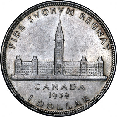 Reverse of 1939 Canada Silver Dollar - Royal Visit