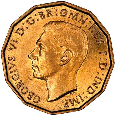 Obverse of 1937 George VI Brass Threepence