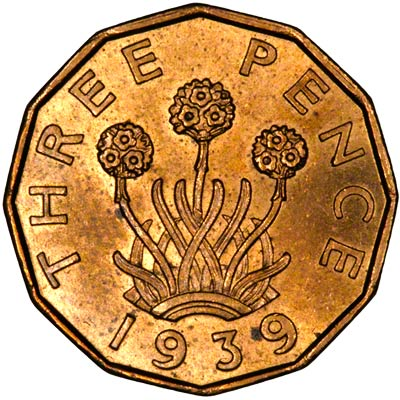 Reverse of 1937 George VI Brass Threepence