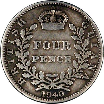Reverse of 1940 British Guiana Fourpence