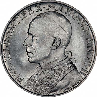Pope Pius XII on Obverse of 1940 Vatican City Silver 5 Lire Coin