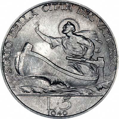 Reverse of 1940 Vatican City Silver 5 Lire Coin