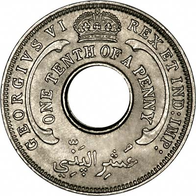 Reverse of 1941 British West Africa Tenth of One Penny