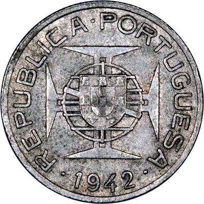 Obverse of 1942 Mozambique 2 1/2 Escudos