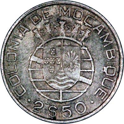 Reverse of 1942 Mozambique 2 1/2 Escudos