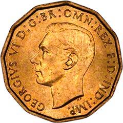 1937 Brass Threepence of George VI