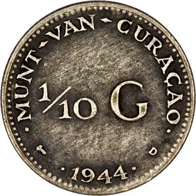 Reverse of 1944 Curaçao Tenth Gulden