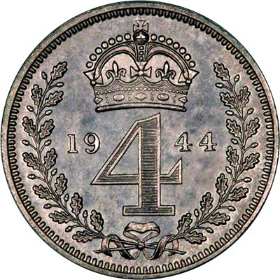 Reverse of 1944 Maundy Threepence