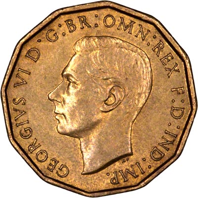 Obverse of 1945 Brass Threepence