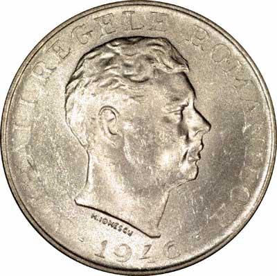 Obverse of 1946 Romanian Silver 100,000 Lei Coin